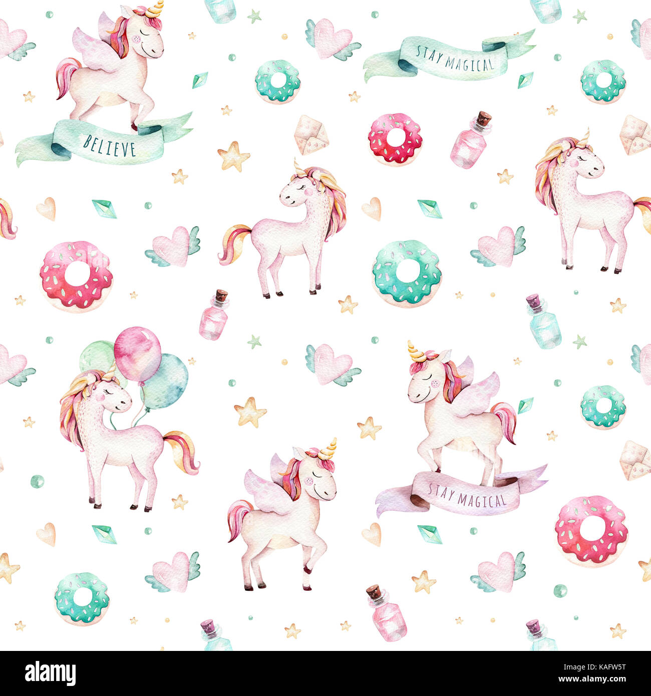 Isolated Cute Watercolor Unicorn Pattern Nursery Unicorns Aquarelle Princess Unicornscollection Trendy Pink Cartoon Horse