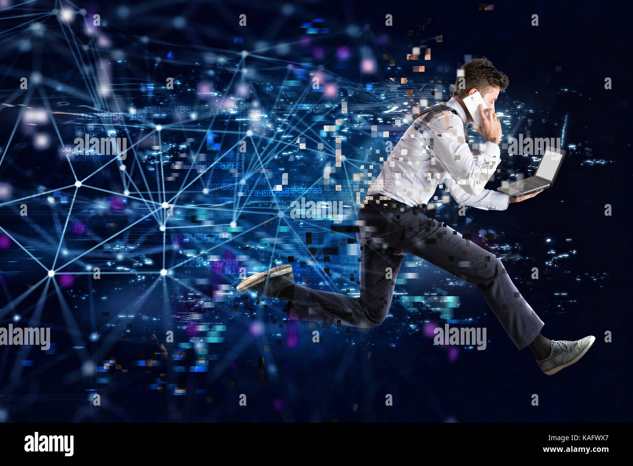 Fast internet connection concept with running businessman - Stock Image