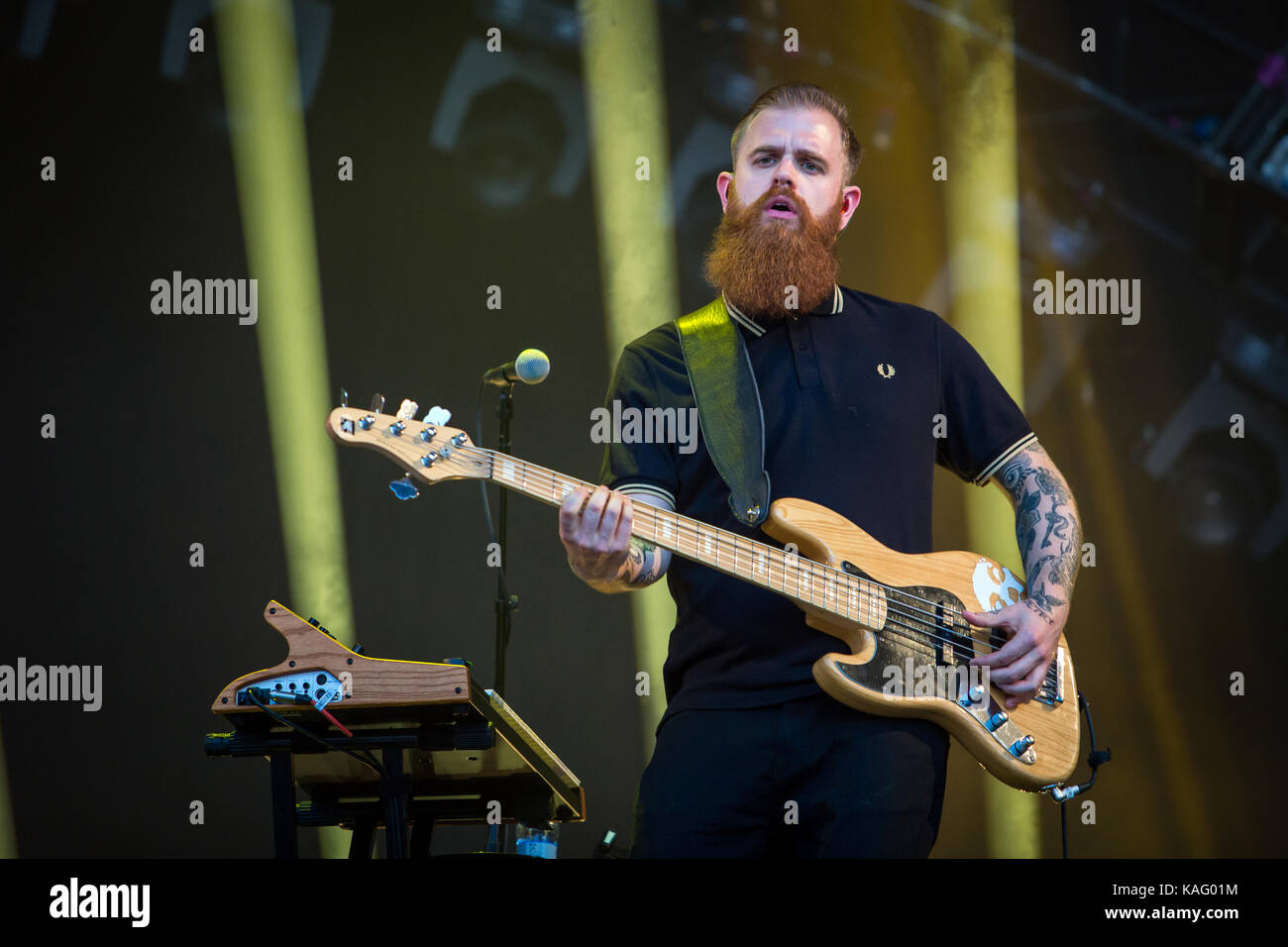 The English singer, songwriter and musician Sam Smith performs a live concert at the music festival Lollapalooza - Stock Image