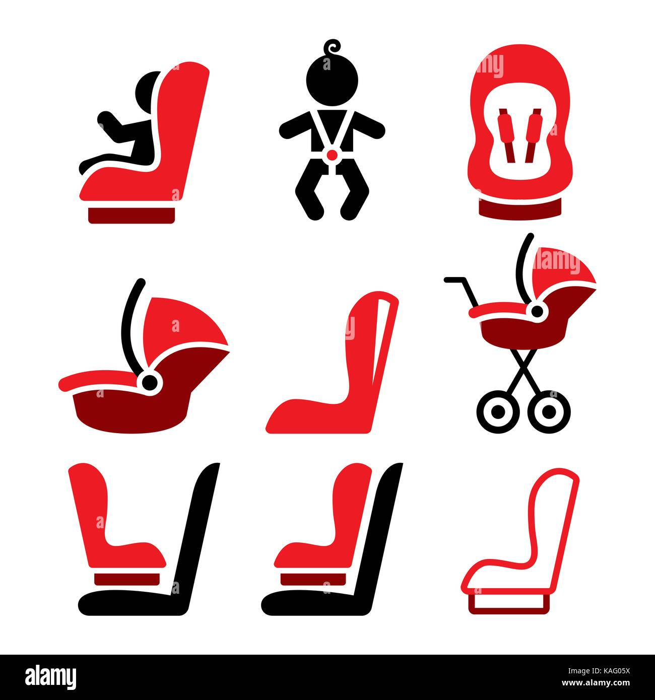 Baby car seat vector icons, toddle car seat - safe child traveling icons - Stock Vector