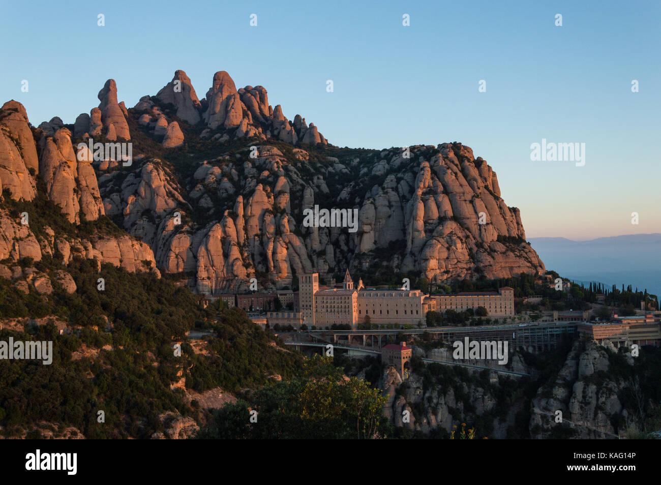 Monastery of Montserrat from San Miquel cross, Barcelona - Stock Image