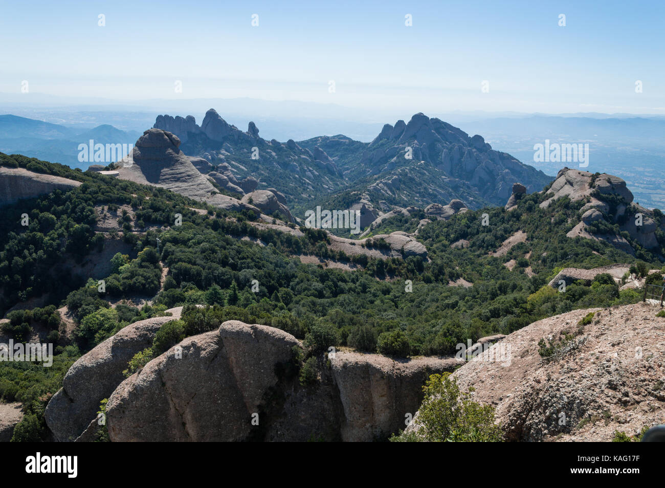 Montserrat chain mountain from Sant Jerome - Stock Image