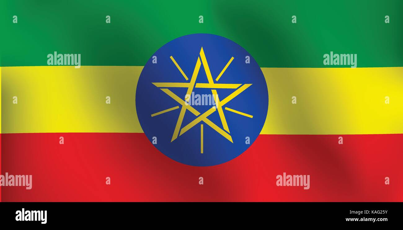 Flag of Ethiopia with a little Waving, Shading & Flag Colors separated layers - Vector Illustration - Stock Vector