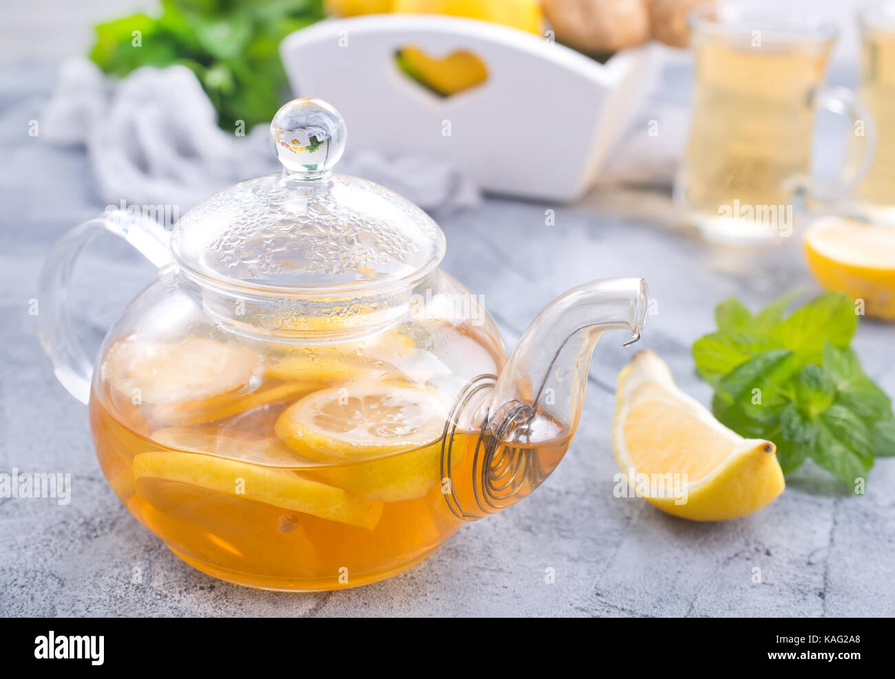 fresh tea with lemon and fresh mint Stock Photo