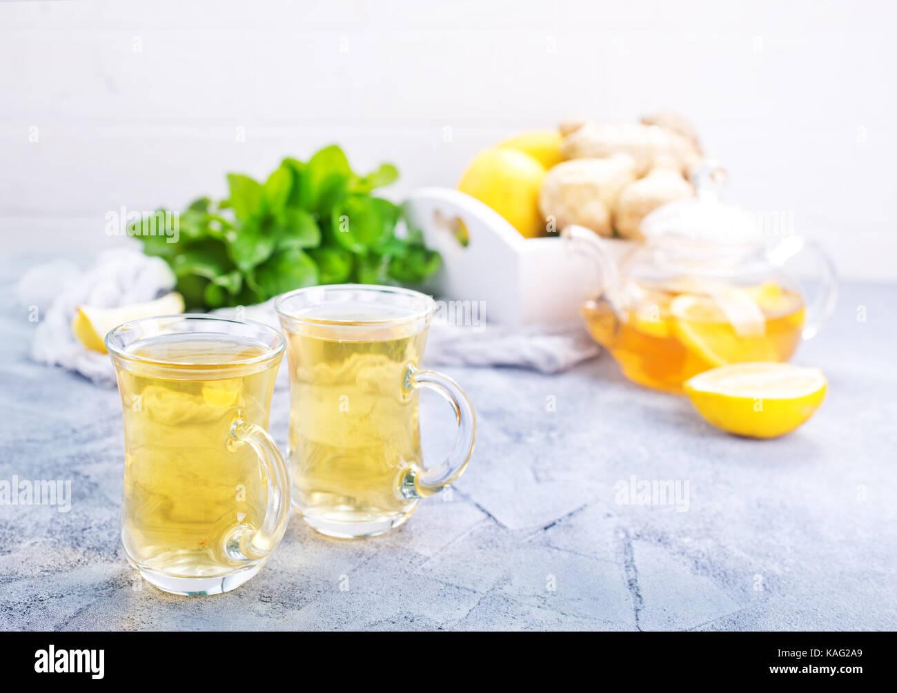 fresh tea with lemon and fresh mint Stock Photo