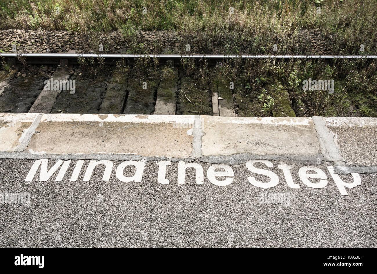 Mind the step painted on railway station platform. UK - Stock Image