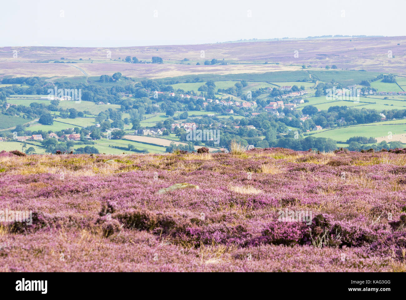 View over Westerdale village from Castleton Rigg. North York Moors National Park, North Yorkshire, England. UK - Stock Image
