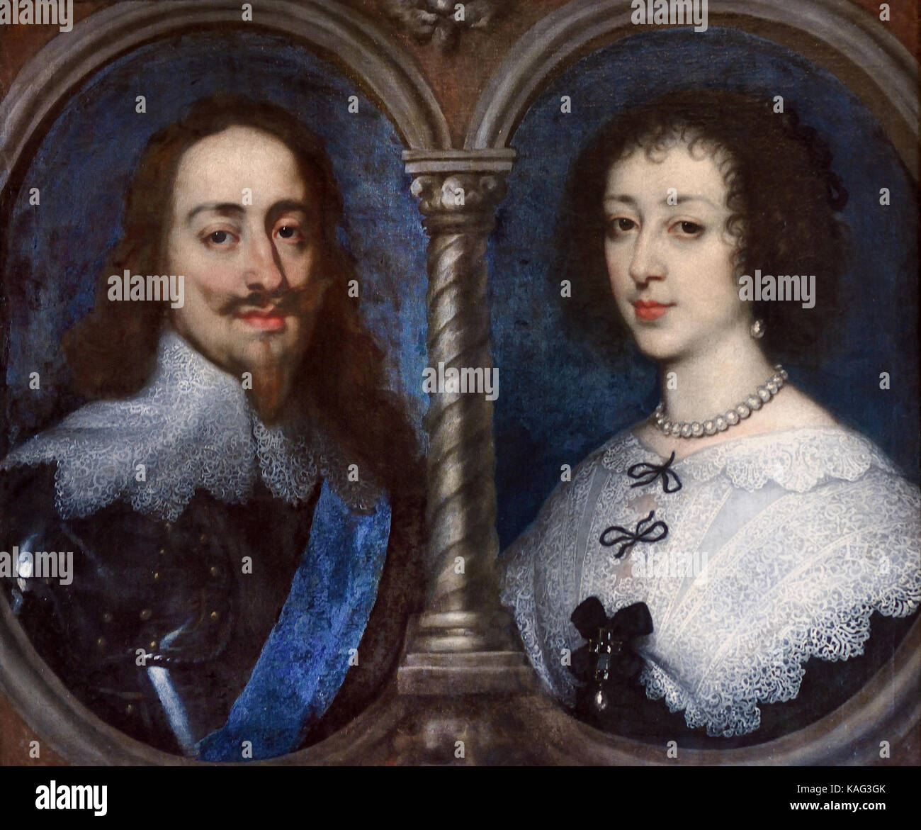 King Charles I of England and Henrietta of France, before 1632 by Flemish Belium Belgian painter, draughtsman and - Stock Image