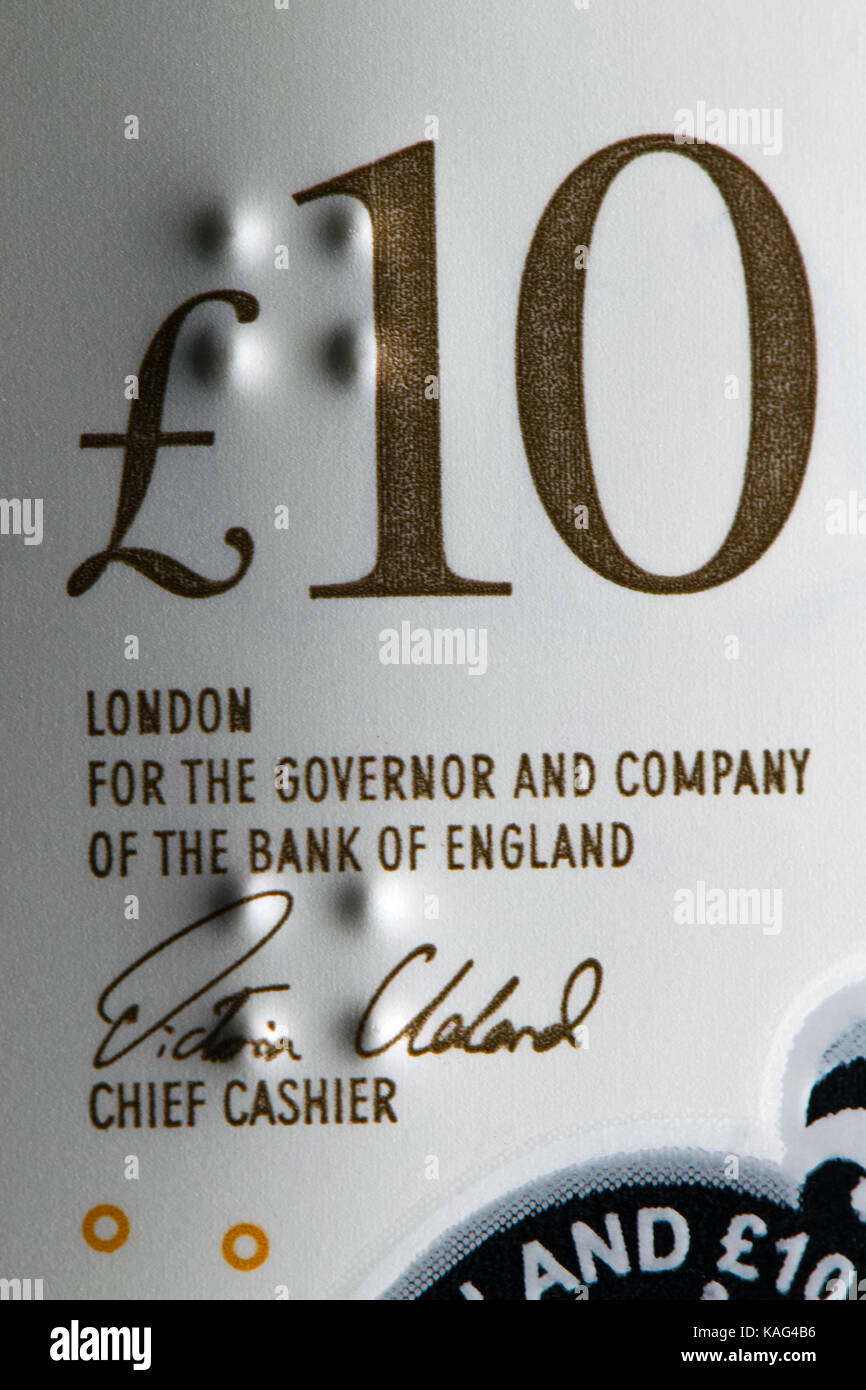 New Bank of England polymer £10 note (September 2017) showing tactile feature for the blind - raised dots - Stock Image