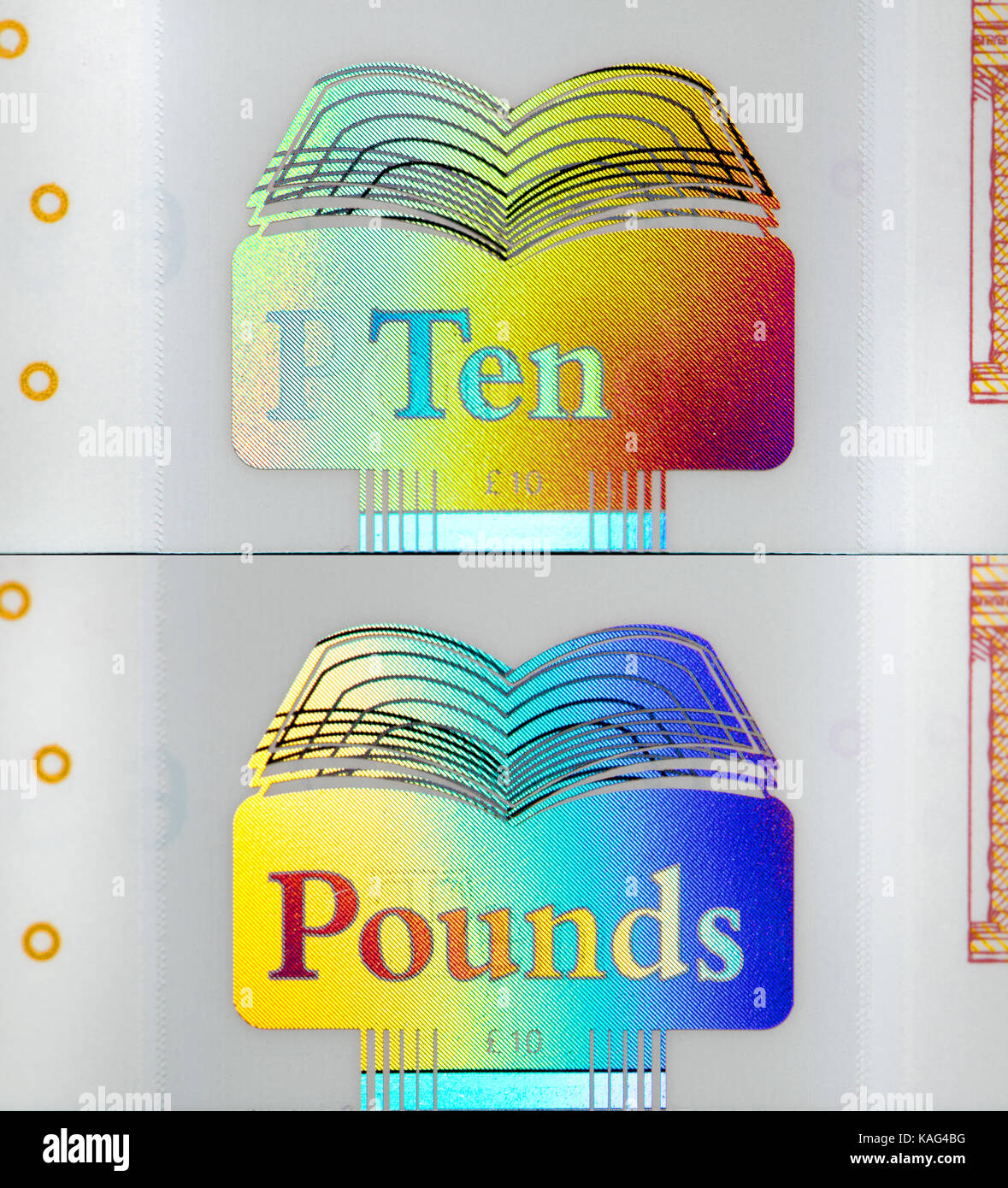 New Bank of England polymer £10 note (September 2017) composite, showing security feature: ten / pounds hologram - Stock Image