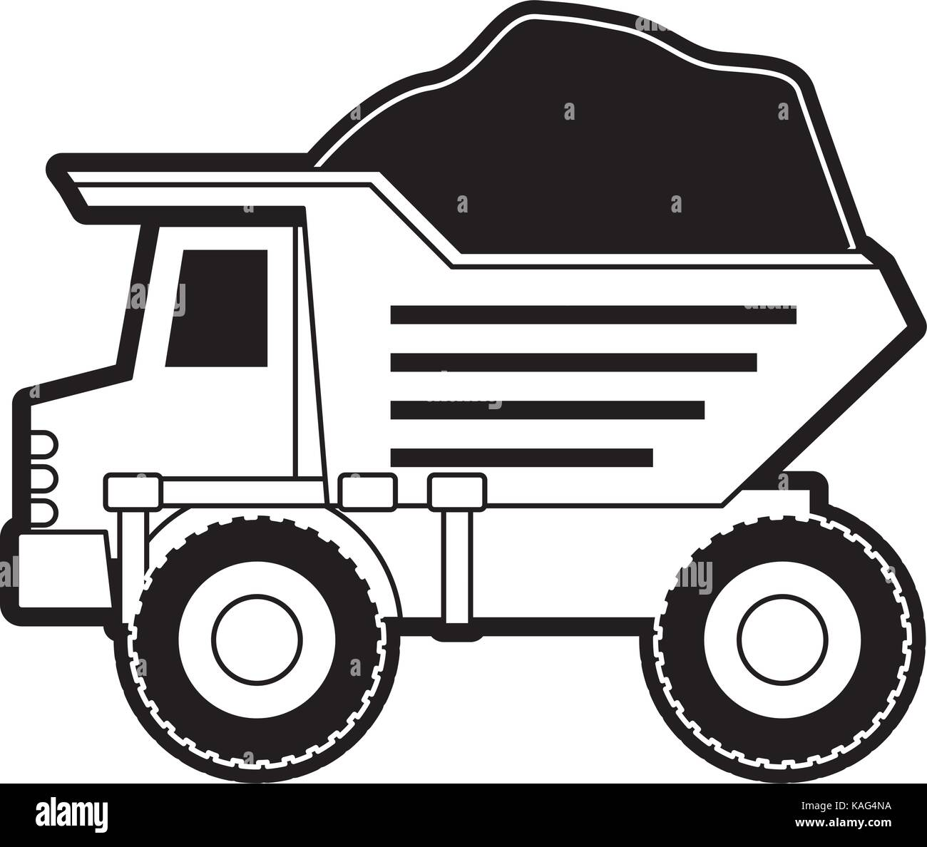 dump truck with rocks on monochrome silhouette - Stock Vector