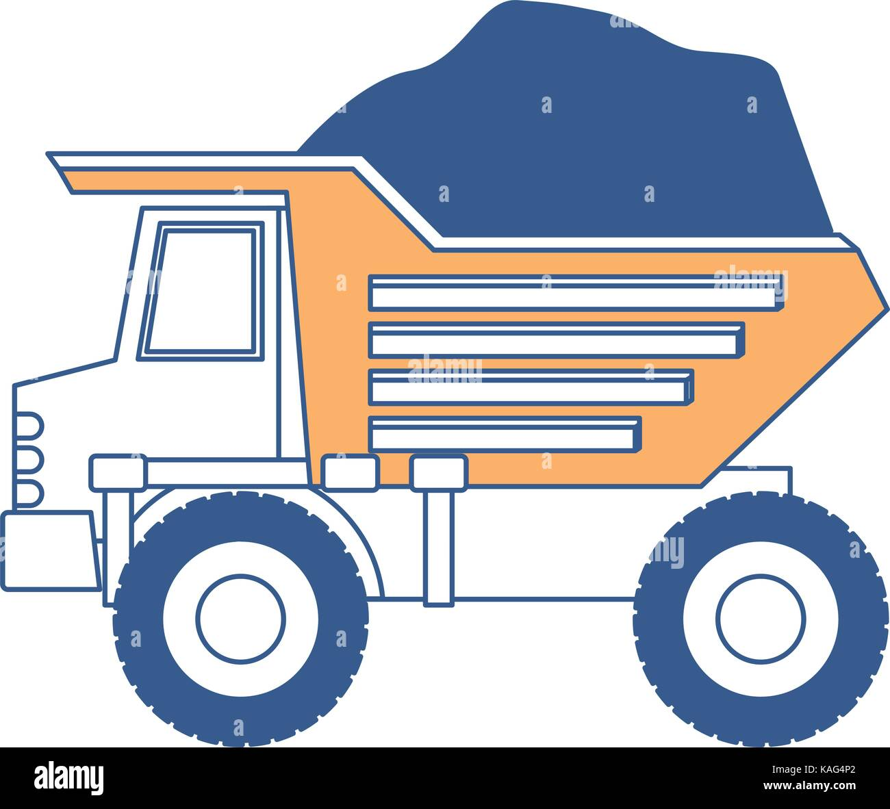 dump truck with rocks on color section silhouette - Stock Vector