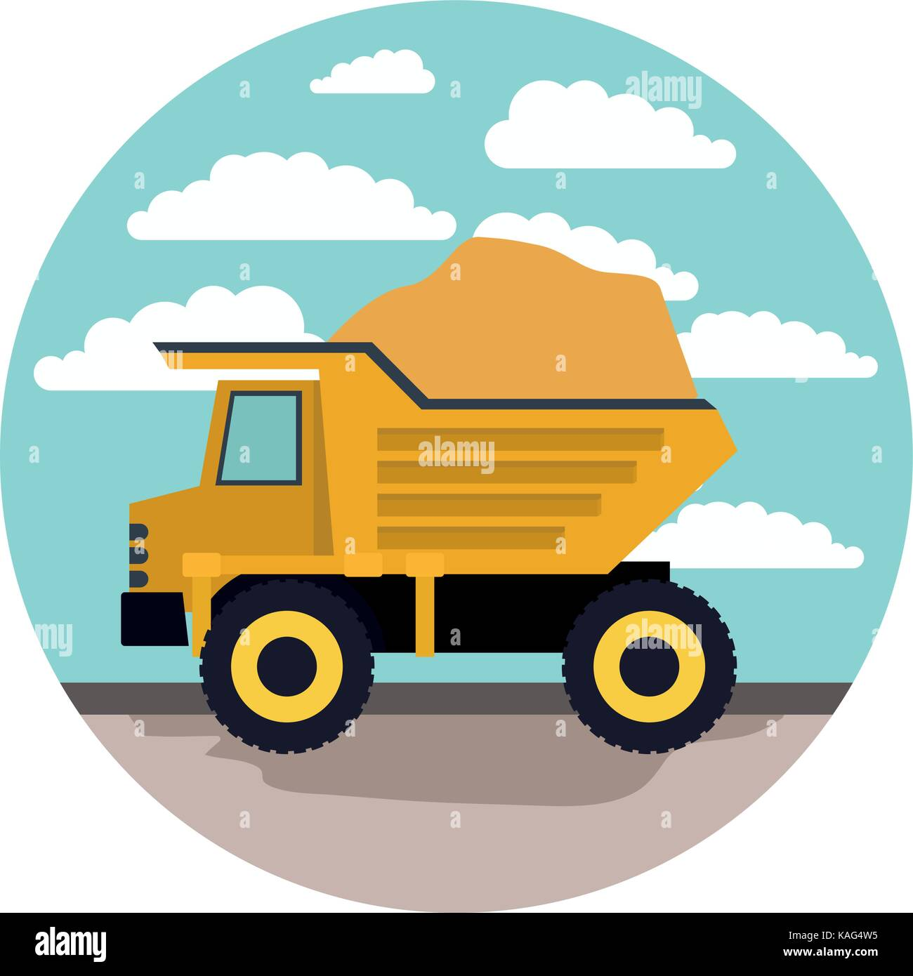 dump truck in circular frame with cloud landscape on colorful silhouette - Stock Vector