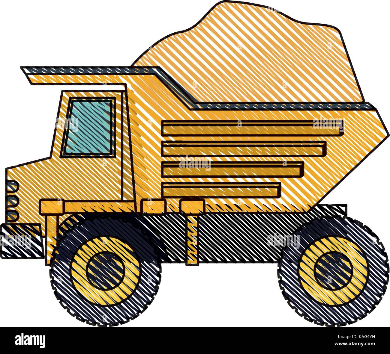 dump truck with rocks on color crayon silhouette - Stock Vector