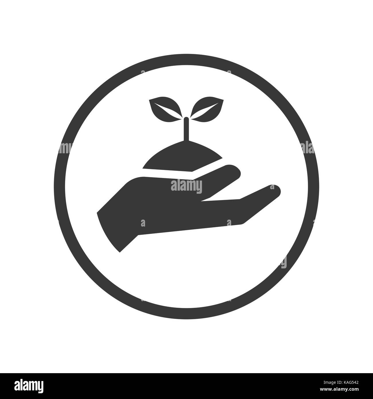 Hand holding plant icon, seeding in hand iconic symbol inside a circle, on white background.  Vector Iconic Design. - Stock Vector