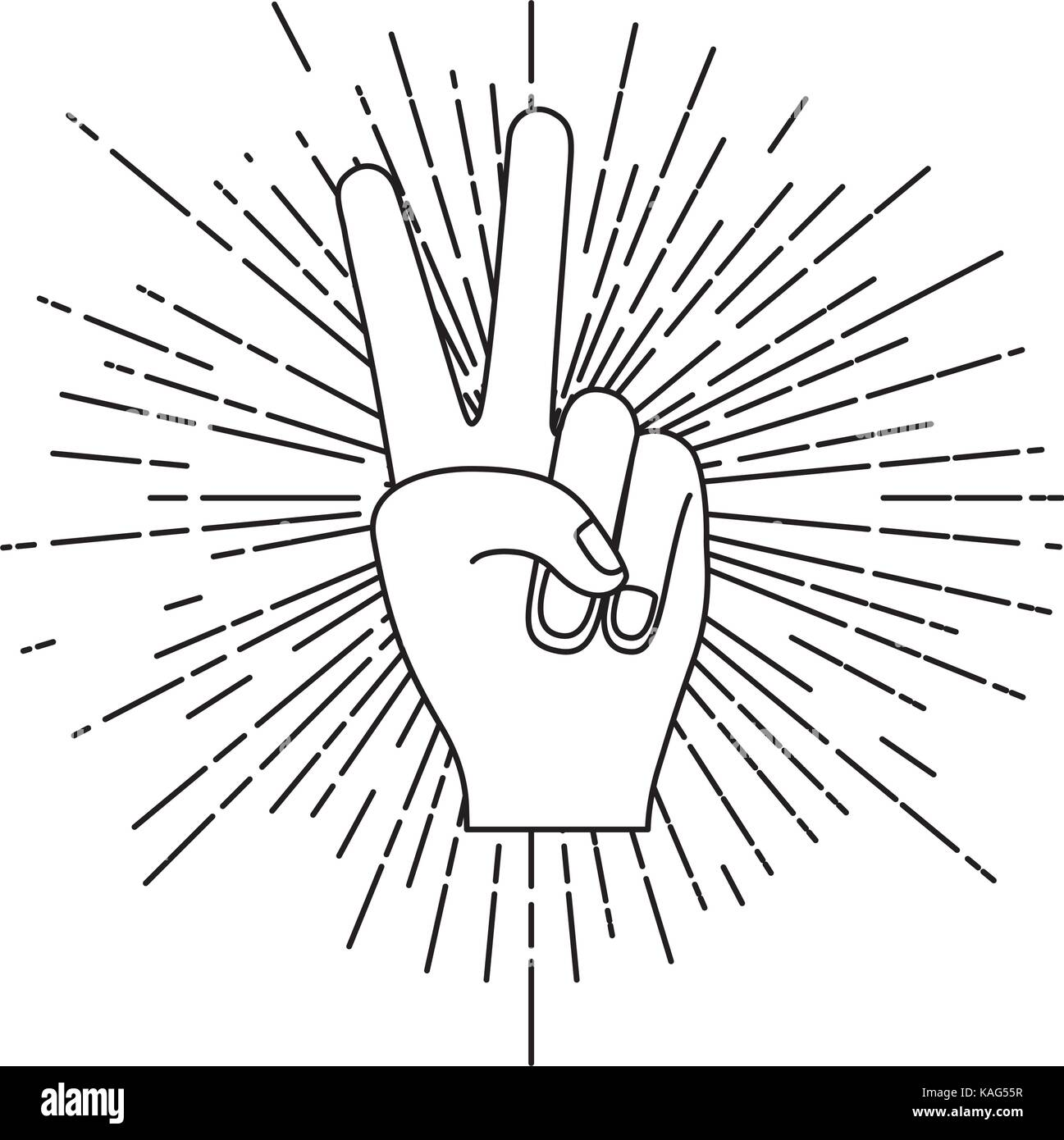 peace hand gesture with linear brightness silhouette in white background - Stock Image