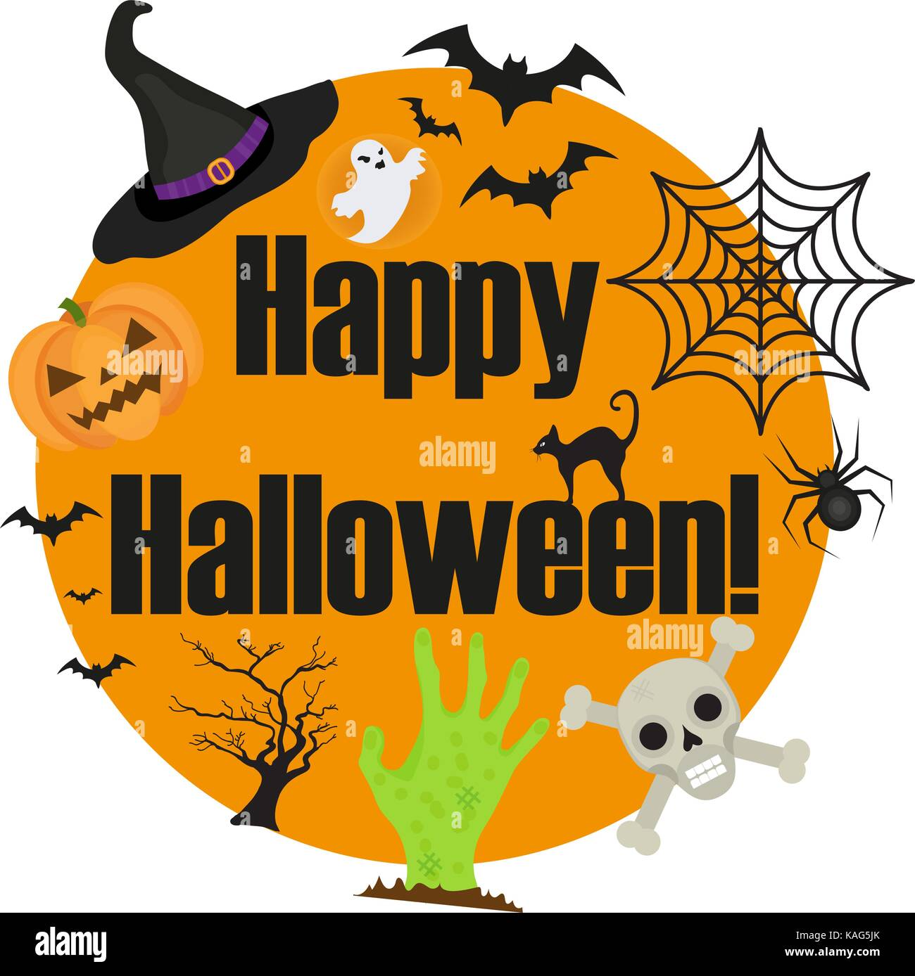 Halloween round frame for text with a spider, pumpkin, witch hat ...
