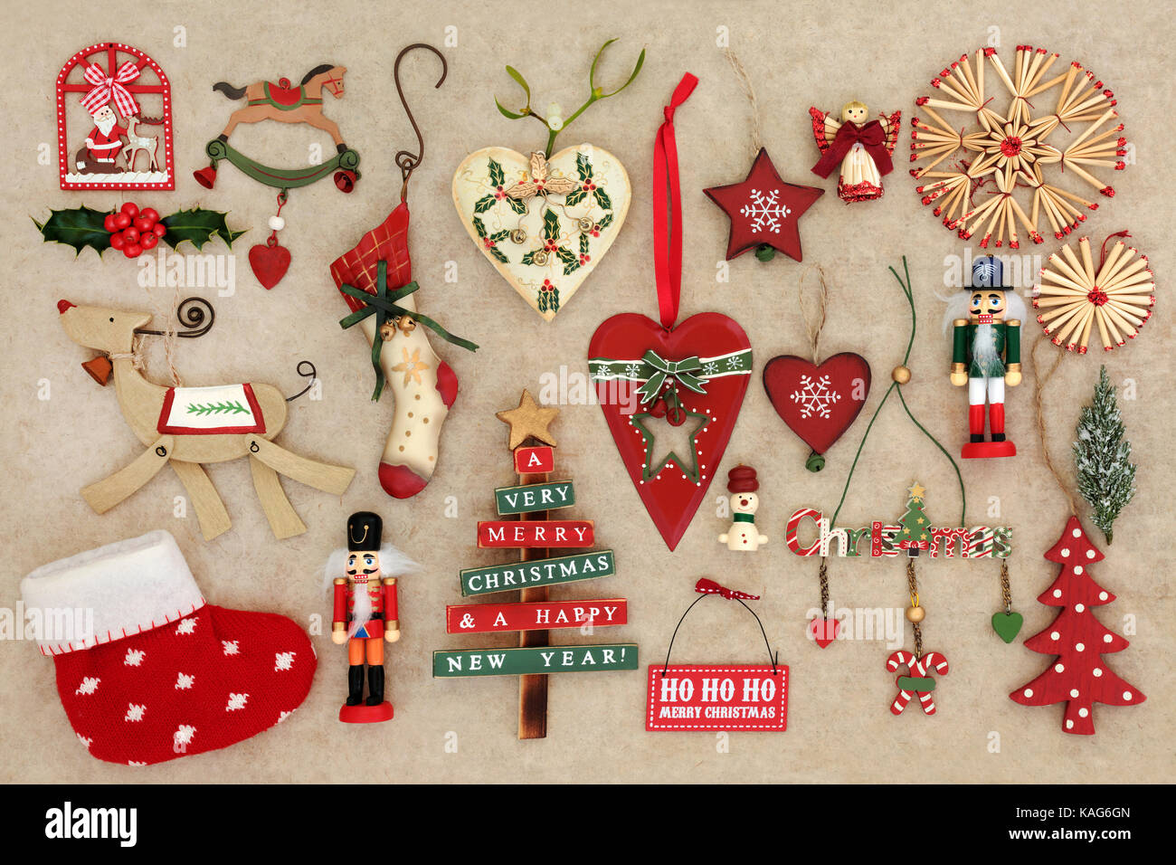 Old Christmas Decorations.Old Fashioned Christmas Decorations On Handmade Hemp Paper