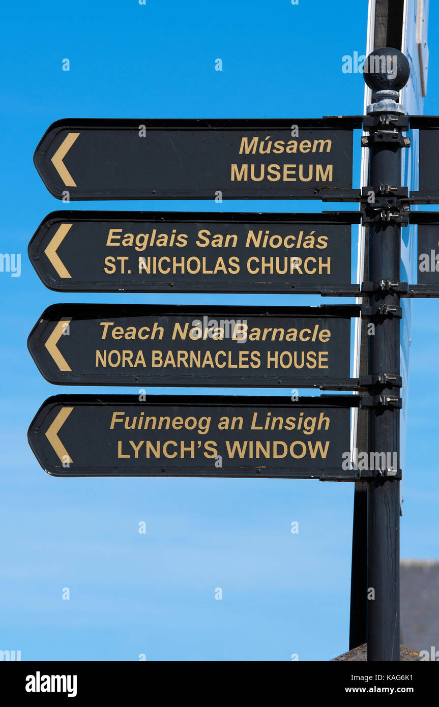 Road sign in Galway city centre, County Galway, Ireland - Stock Image