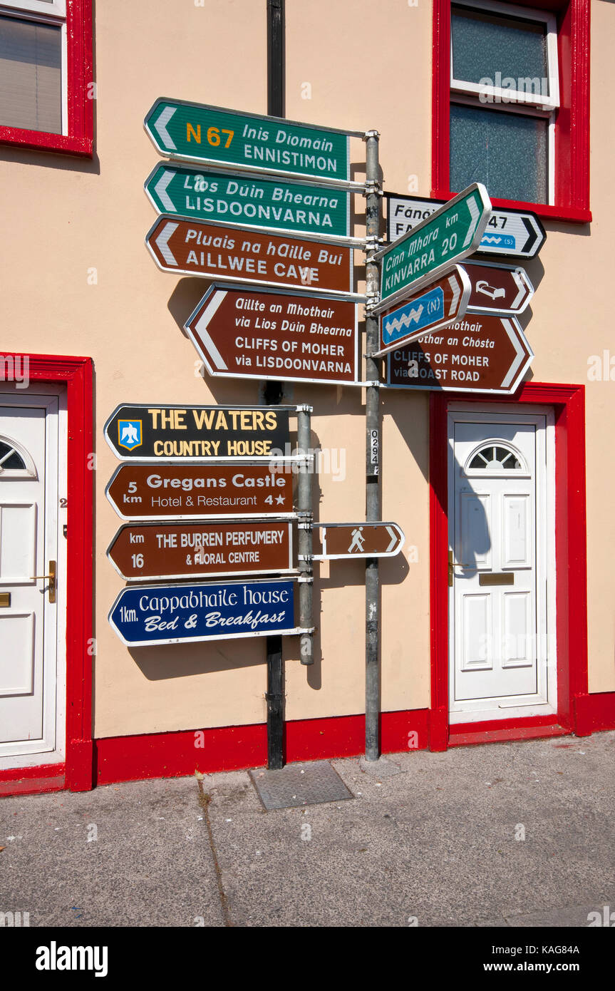 Road signs in Ballyvaughan, County Clare, Ireland - Stock Image