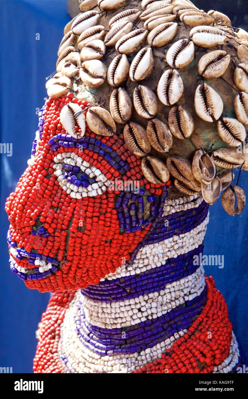 October 14, 2012 - Philadelphia, PA, USA:  Beaded African handicraft on display at an outdoor African-American Art - Stock Image