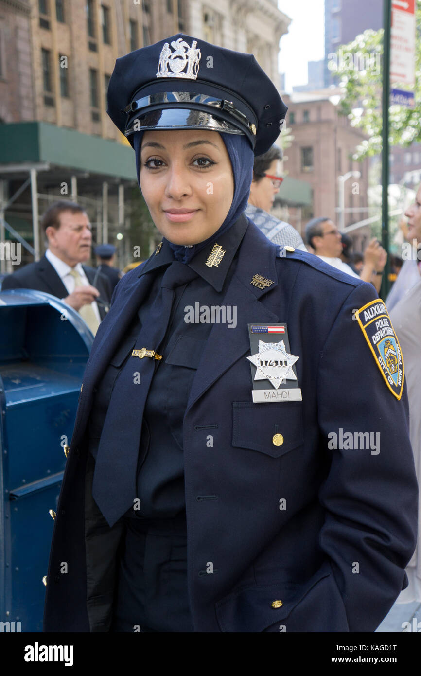 An attractive Yemenite auxiliary Policewoman at he Muslim Day Parade in Midtown Manhattan, New York City. - Stock Image