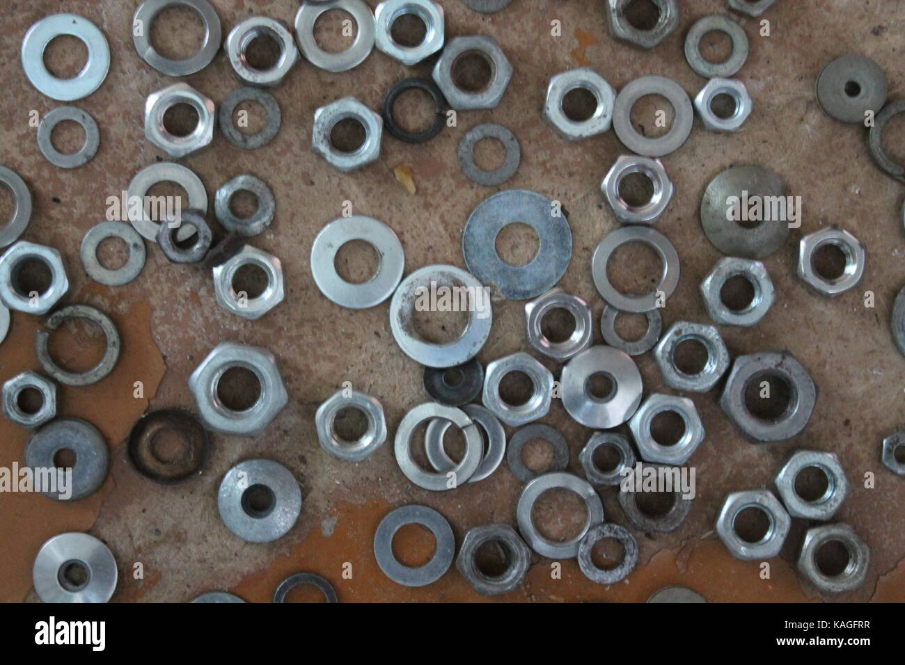 shine steel different shape and form nuts for help in repair - Stock Image
