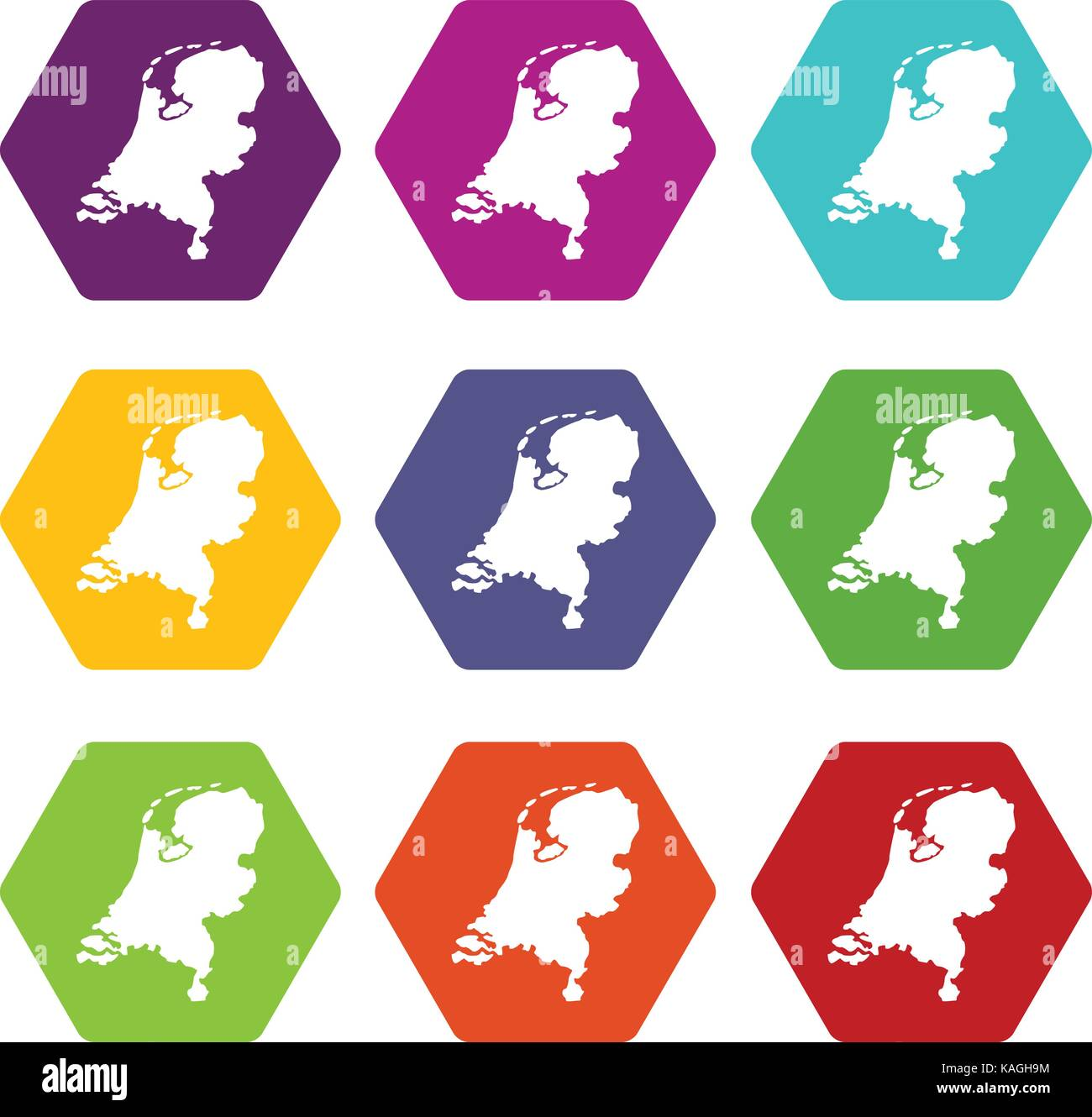 Holland map icon set color hexahedron - Stock Vector