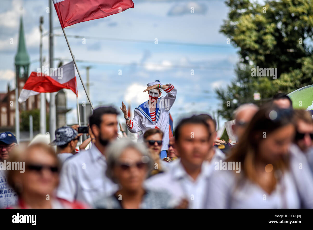 Szczecin, Poland, 6 august 2017: The Tall Ships Races 2017 crew parade in Szczecin. - Stock Image