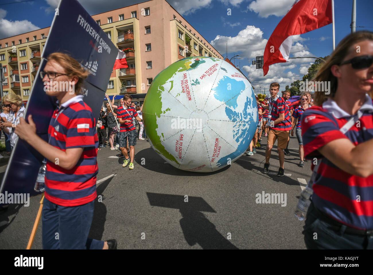 Szczecin, Poland, 6 august 2017: The Tall Ships Races 2017 crew parade in Szczecin, Fryderyk Chopin. - Stock Image