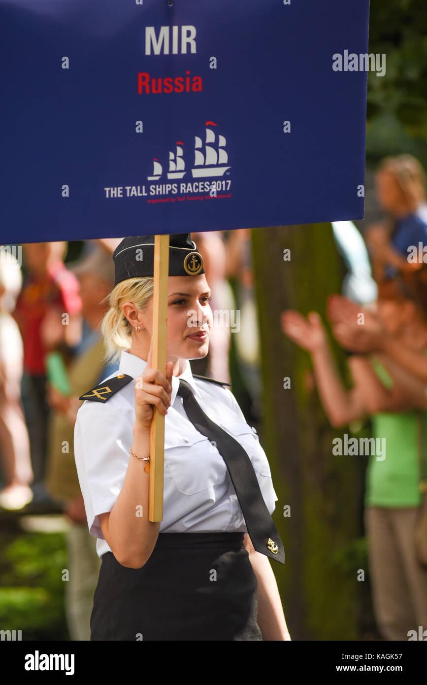 Szczecin, Poland, 6 august 2017: The Tall Ships Races 2017 crew parade in Szczecin, MIR Russia. - Stock Image