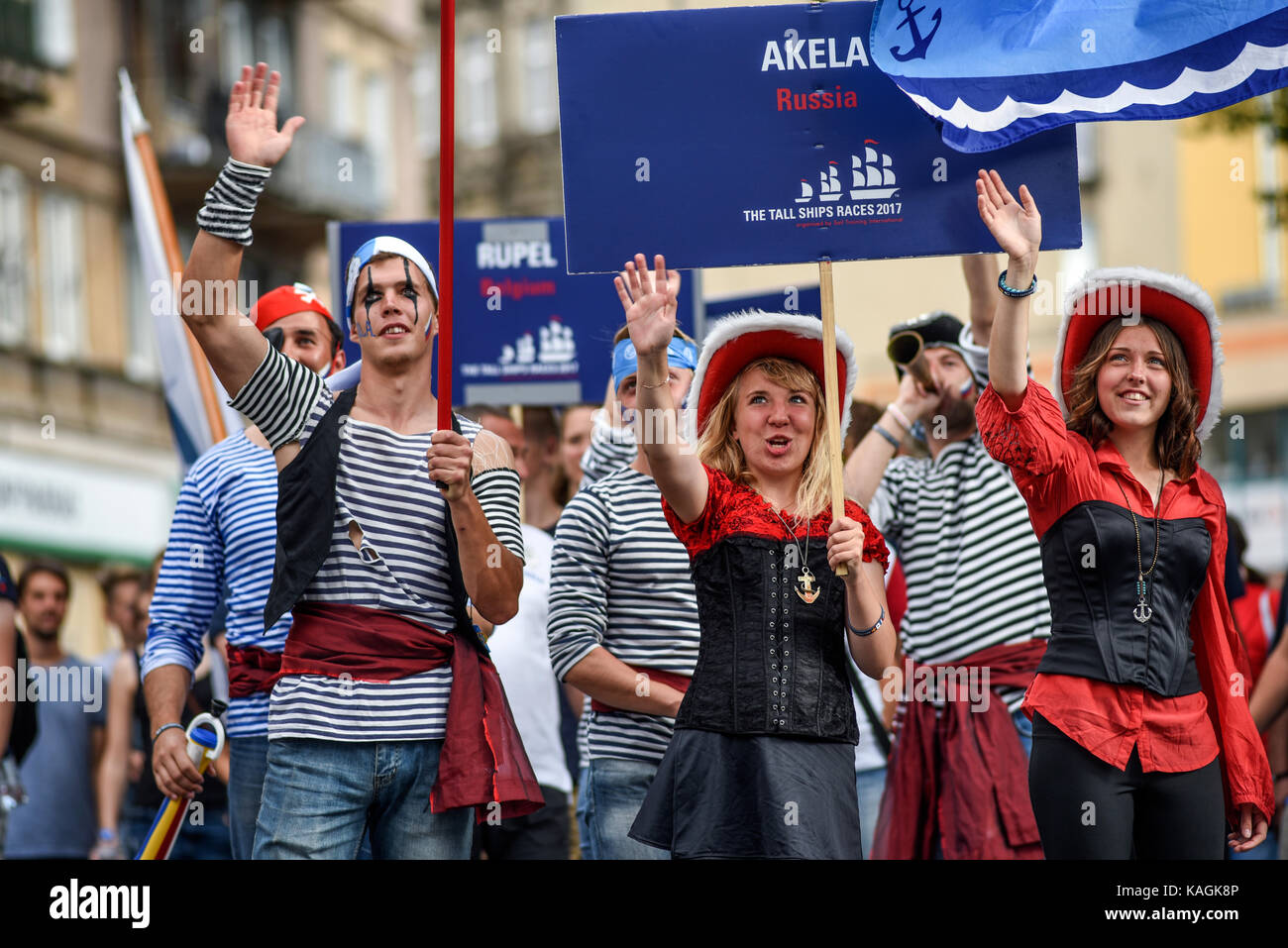 Szczecin, Poland, 6 august 2017: The Tall Ships Races 2017 crew parade in Szczecin, Akela Russia. - Stock Image