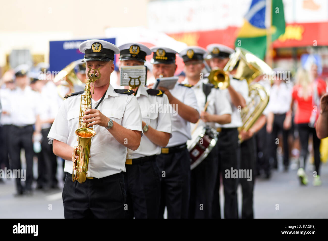 Szczecin, Poland, 6 august 2017: The Tall Ships Races 2017 crew parade in Szczecin, orchestra. - Stock Image