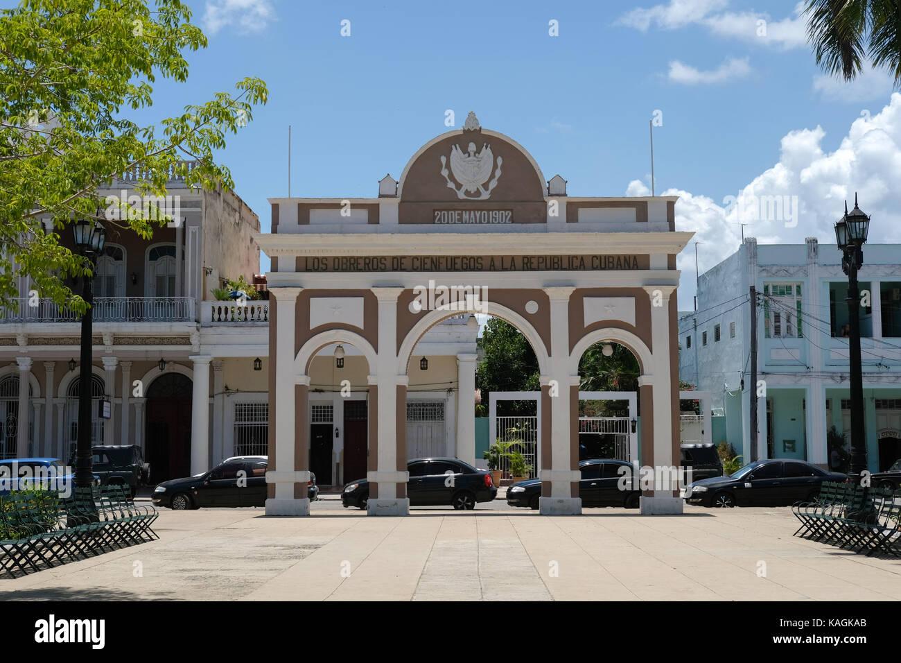 Arco de Triunfo (Triumphal Arch) in Cienfuegos, Cuba. Stock Photo