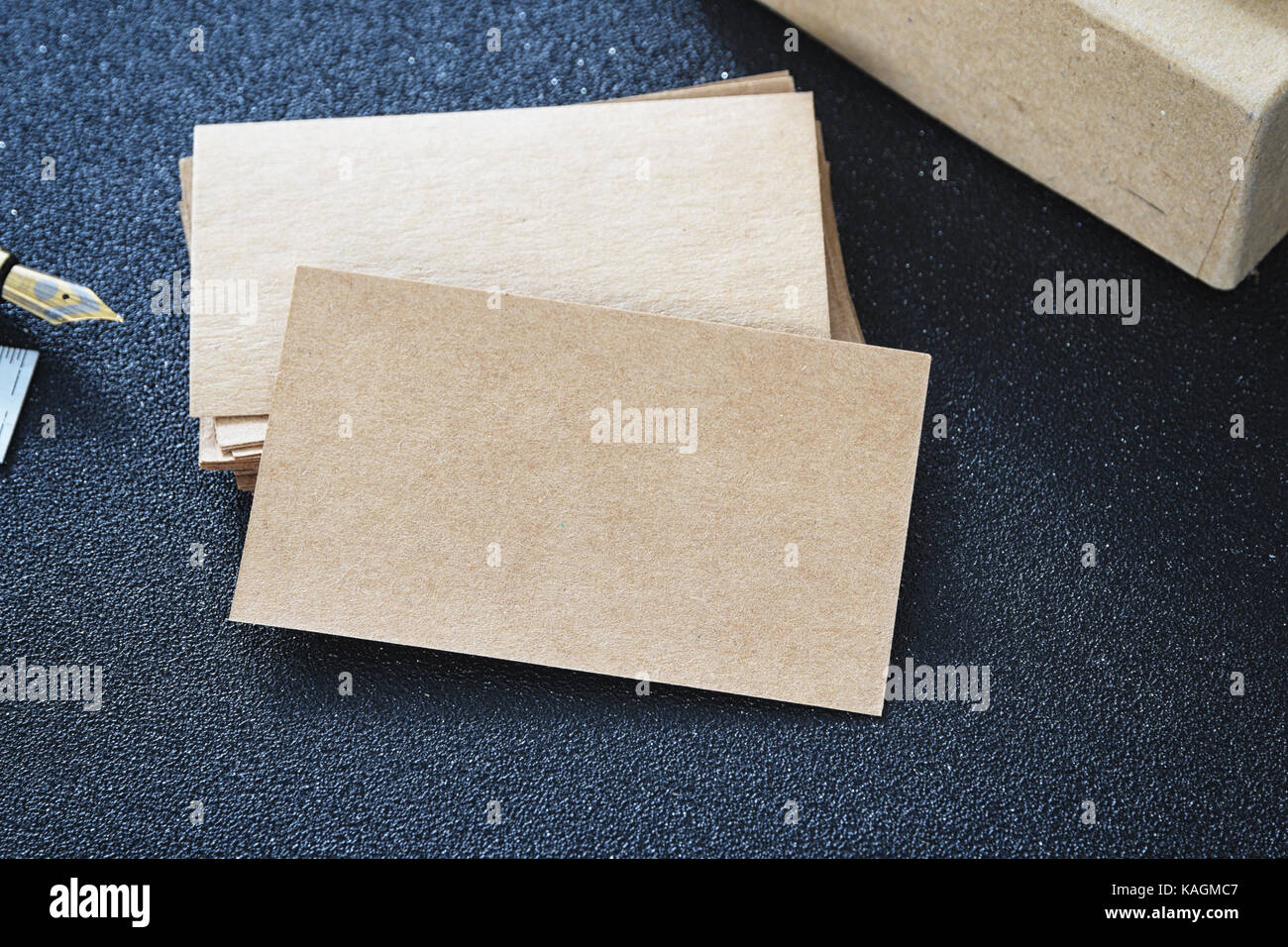 Blank business card mock up from cardboard on table for design Stock ...