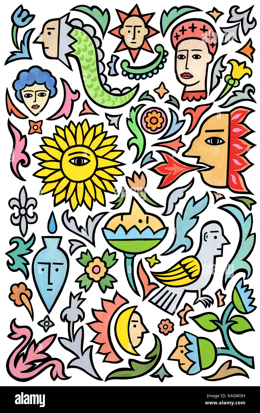 Many things. A page of various designs based on tattoos.Stock Photo