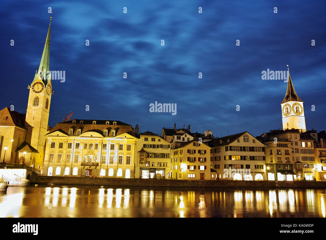 Night photo of Fraumunster and St.Peter churches in city of Zurich, Switzerland - Stock Image