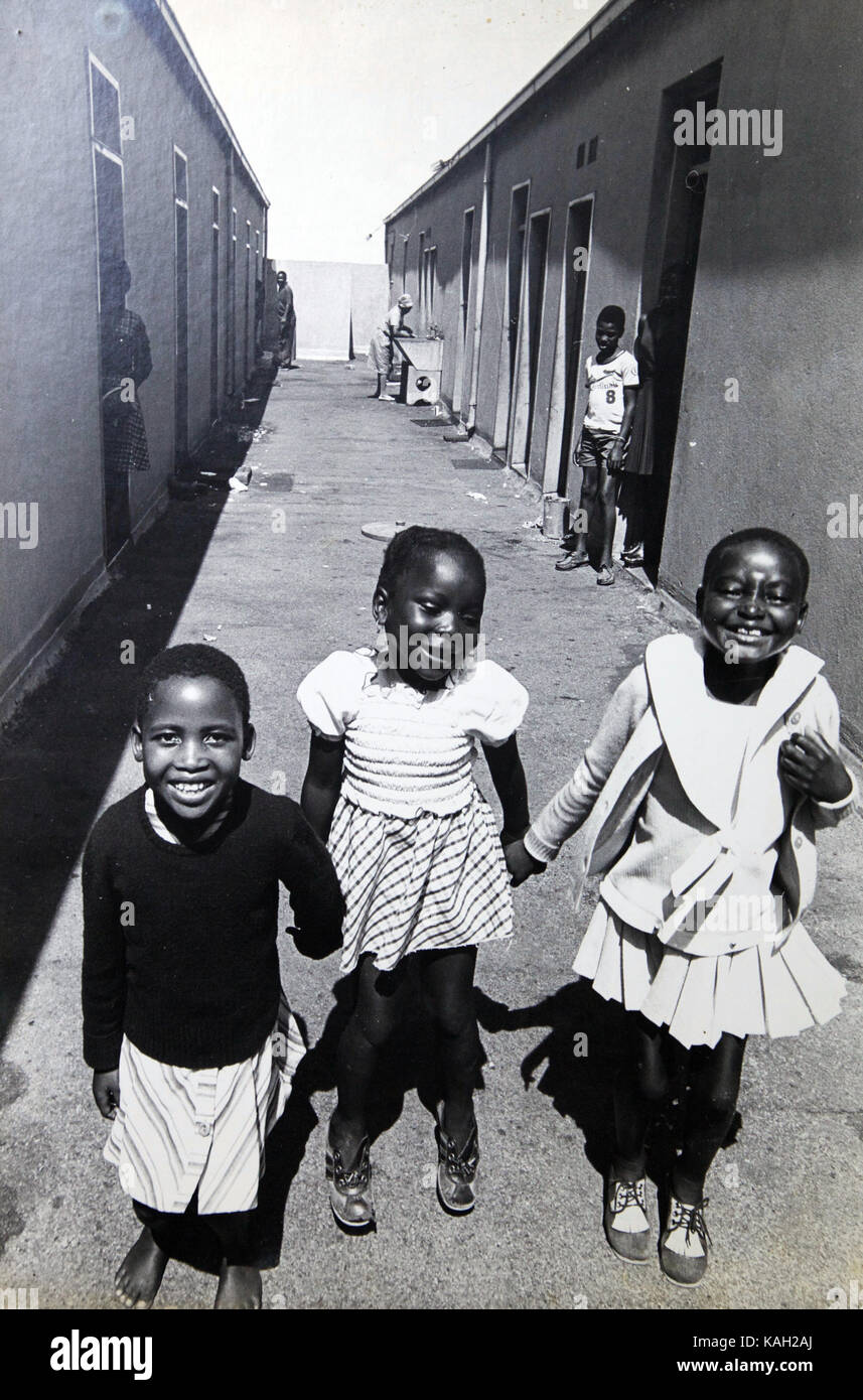 Children of maids living in the rooftop quarters of a Johannesburg luxury apartment building in 1976; - Stock Image