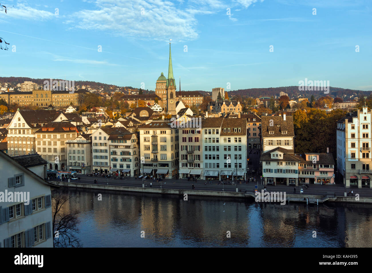 Panorama of city of Zurich and Limmat River, Switzerland - Stock Image