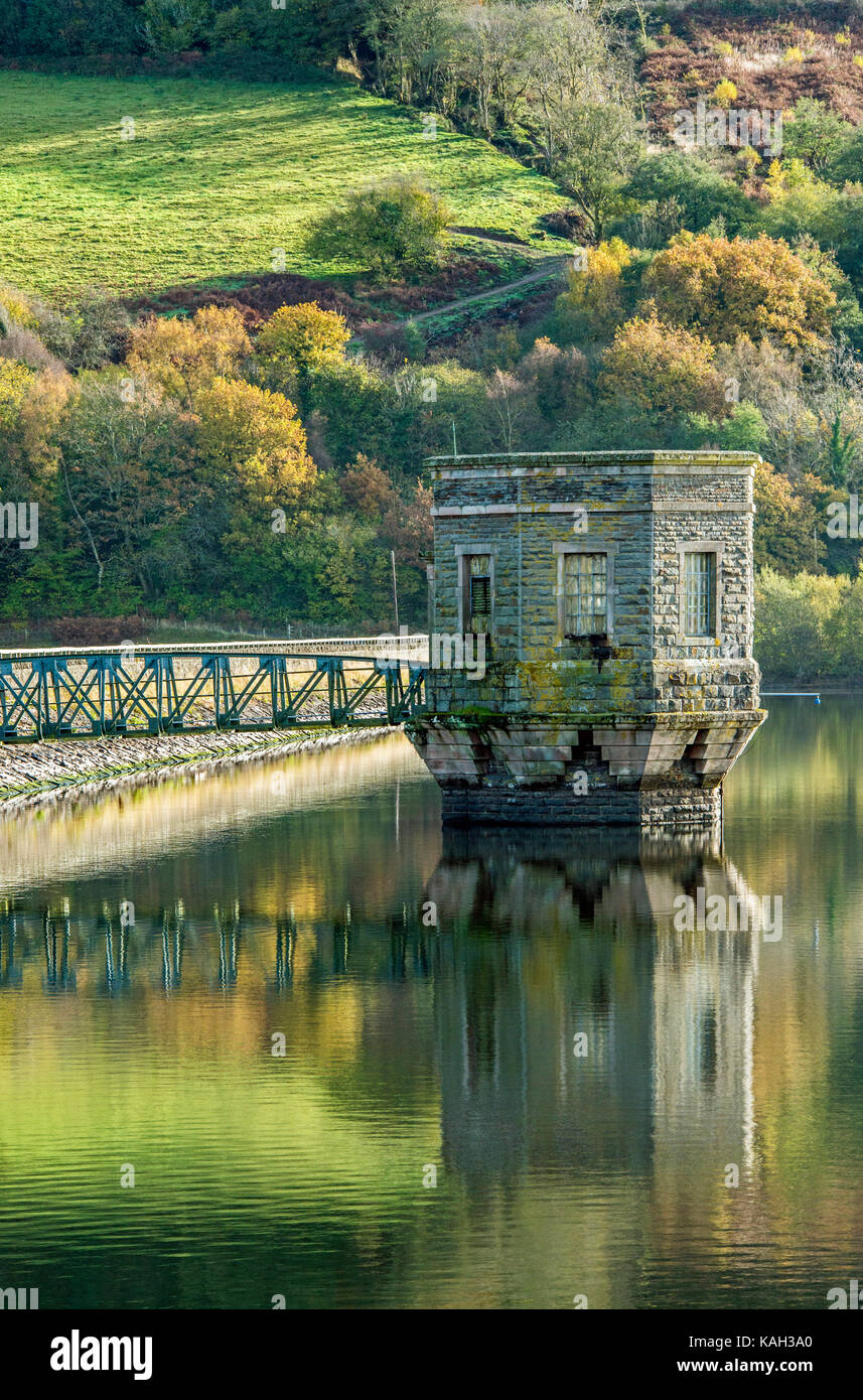 The Control Tower at Talybont Reservoir in the Brecon Beacons National Park Wales - Stock Image