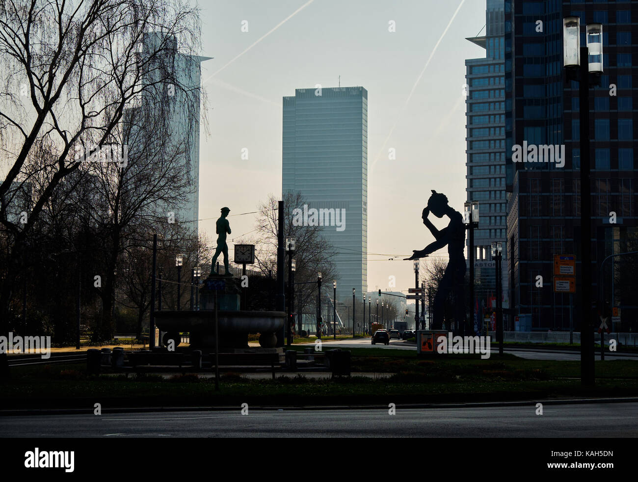 Frankfurt am Main, Germany - March 16, 2017: View from Ludwig-Erhard-Anlage to Friedrich-Ebert-Anlage with Hermes Stock Photo