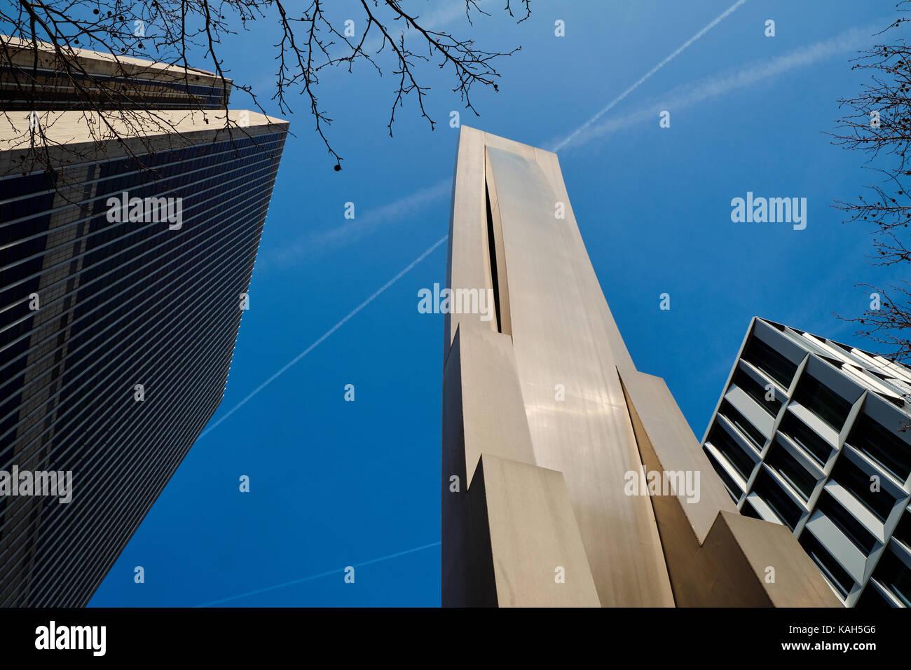 Frankfurt am Main, Germany - March 16, 2017: Lower view of modernist building sculpture next to Frankfurter Büro Stock Photo