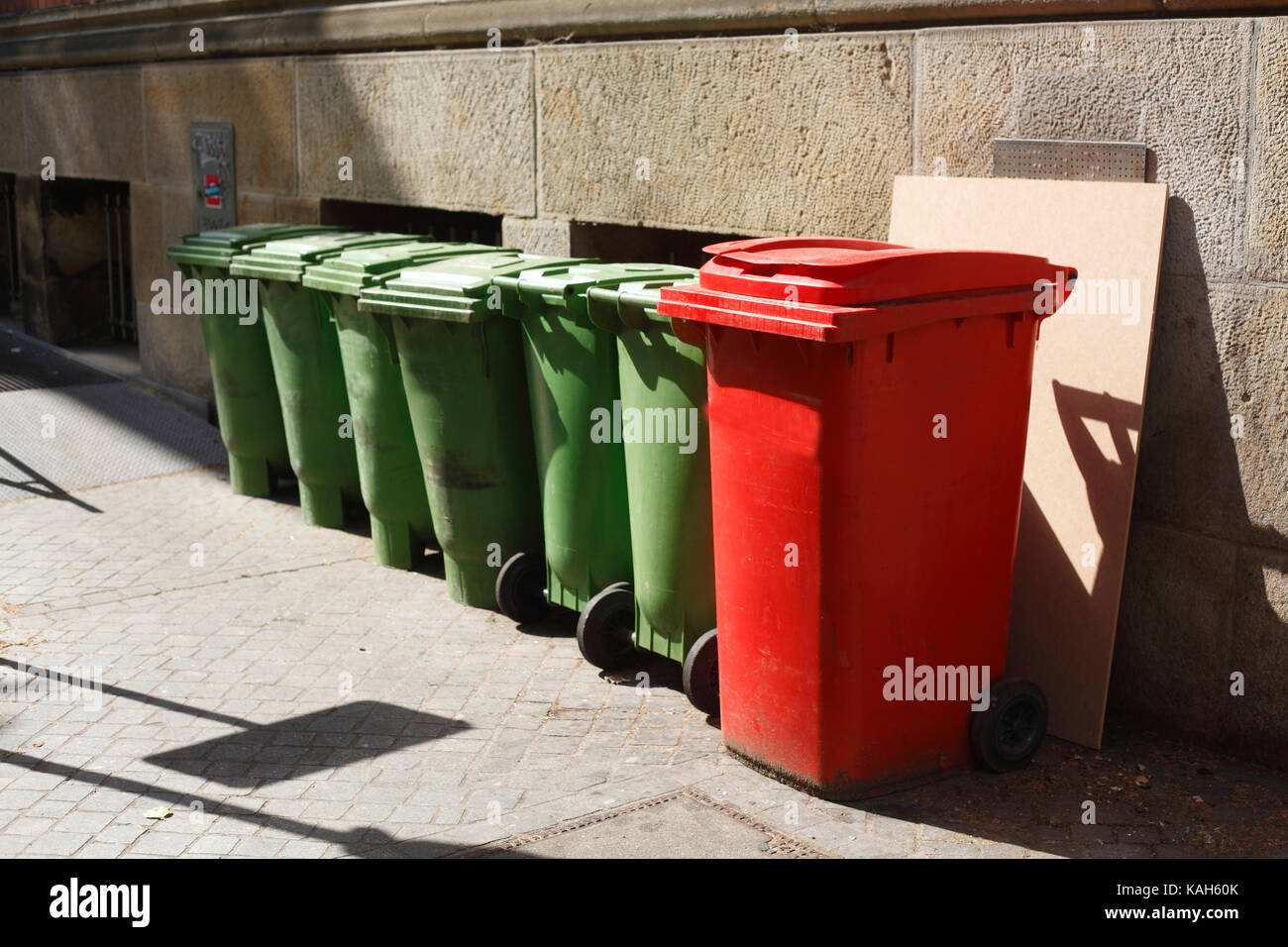 green and red recycling bins Stock Photo