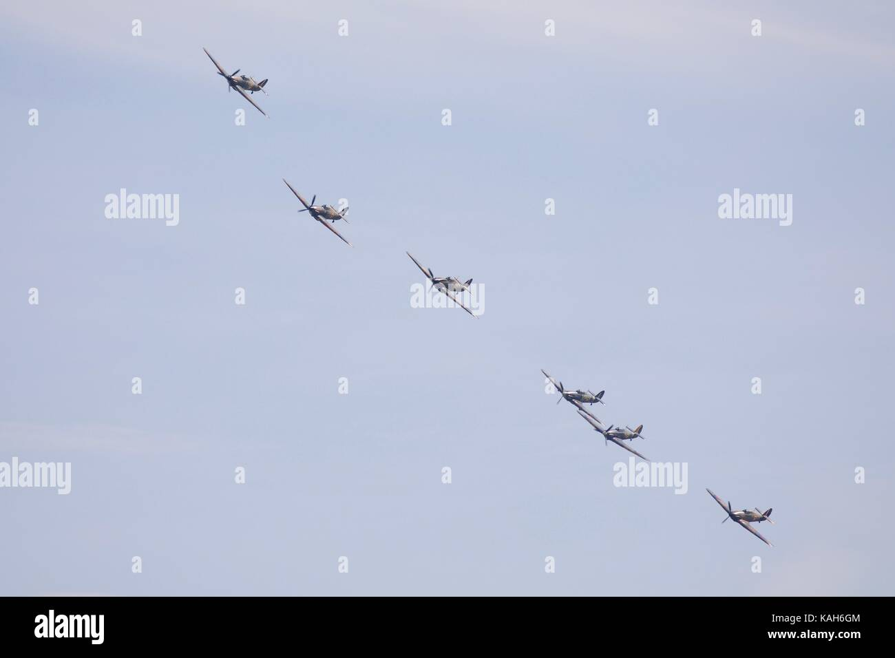 Six Hawker Hurricanes flying at Duxford 2017 Battle of Britain Air Show, the last time 6 Hawker Hurricanes flew - Stock Image
