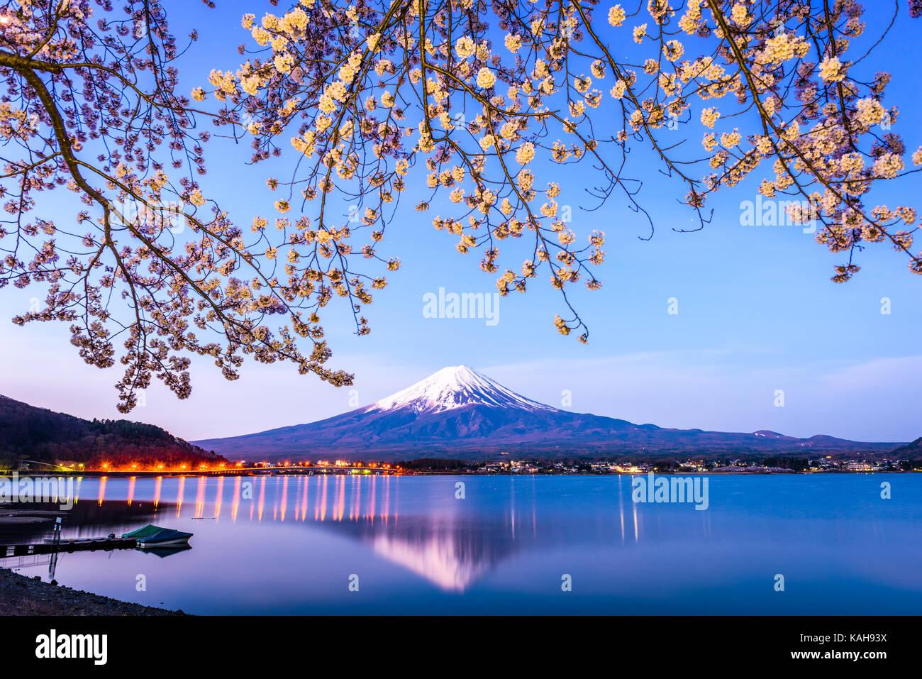 Mt. Fuji on Lake Kawaguchi, Japan during spring season. - Stock Image