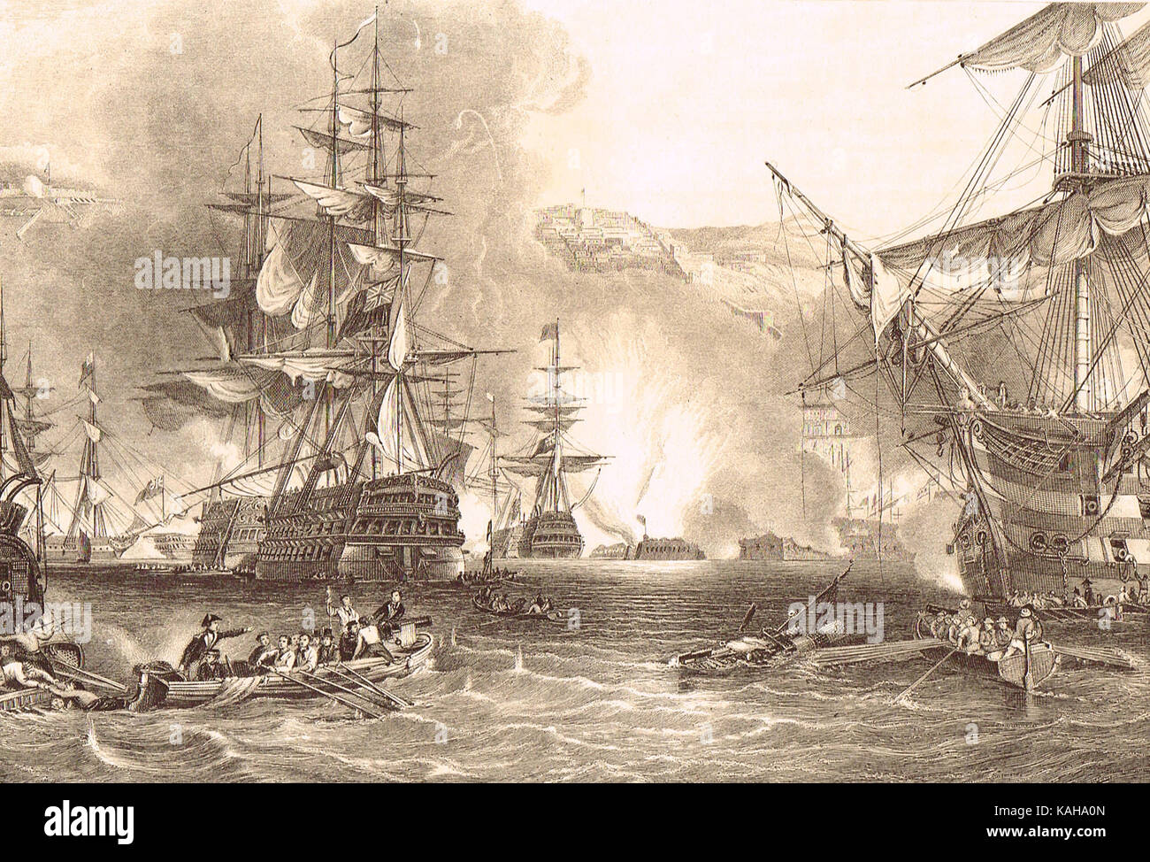 Bombardment of Algiers in 1816 by lord Exmouth Stock Photo
