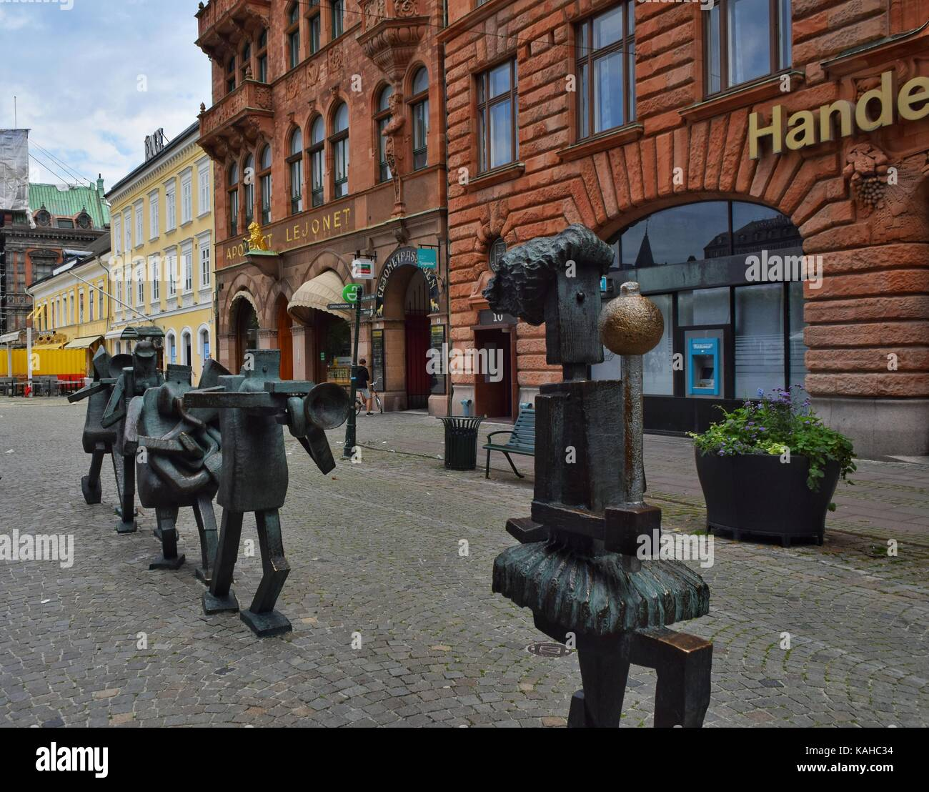 The Optimists Orchestra sculpture, Sodergatan street, Malmo - Stock Image