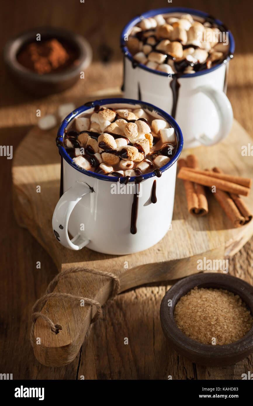 s'mores hot chocolate mini marshmallows cinnamon winter drink - Stock Image