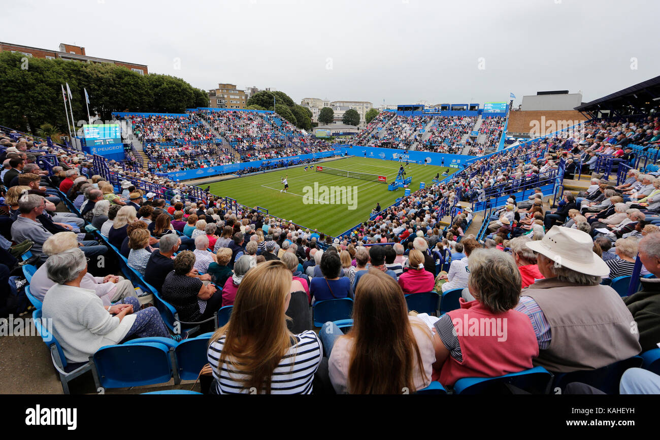 General view of Centre Court during Novak Djokovic's match against Vasek Pospisil match on day six of the Aegon - Stock Image
