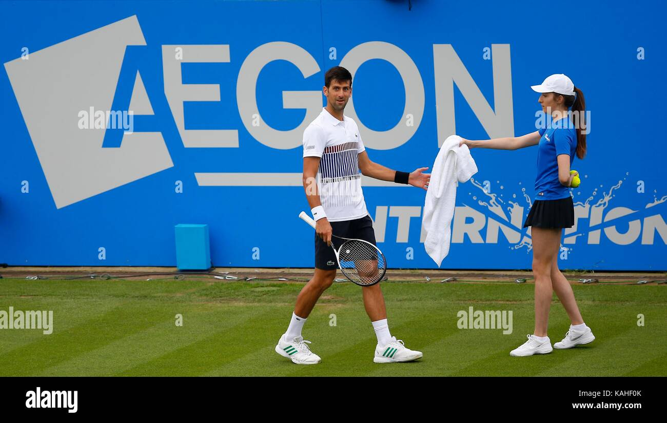 Novak Djokovic of Serbia during his match against Vasek Pospisil of Canada on day six of the Aegon International - Stock Image
